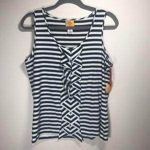 RUBY RD. Black and White Striped Sleeveless Top, M